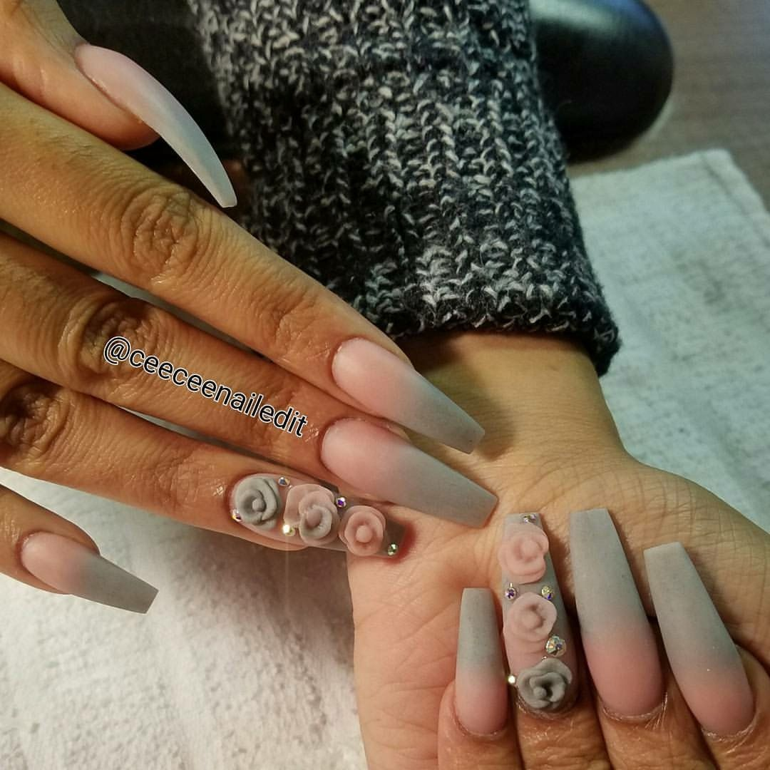 Pink And Grey Ombre Acrylic Nails No Polish With Acrylic Flowers And Swarovski Crystals Coffin Nails Tapered S Ombre Nails Glitter Grey Acrylic Nails Nails