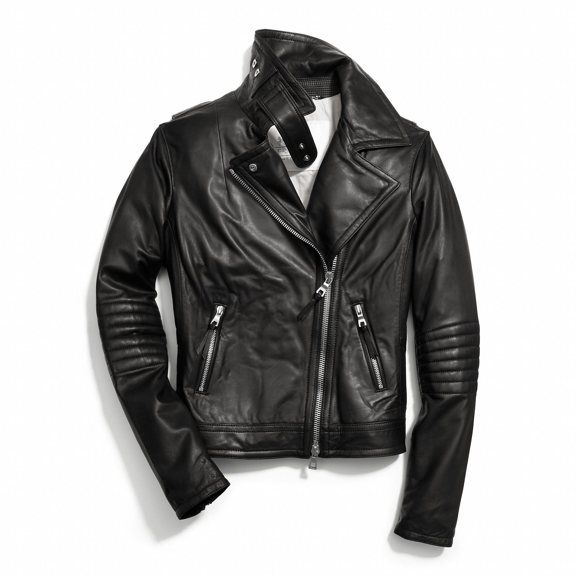 Saw this bad boy at the mall: - Slim leather moto jacket from ...