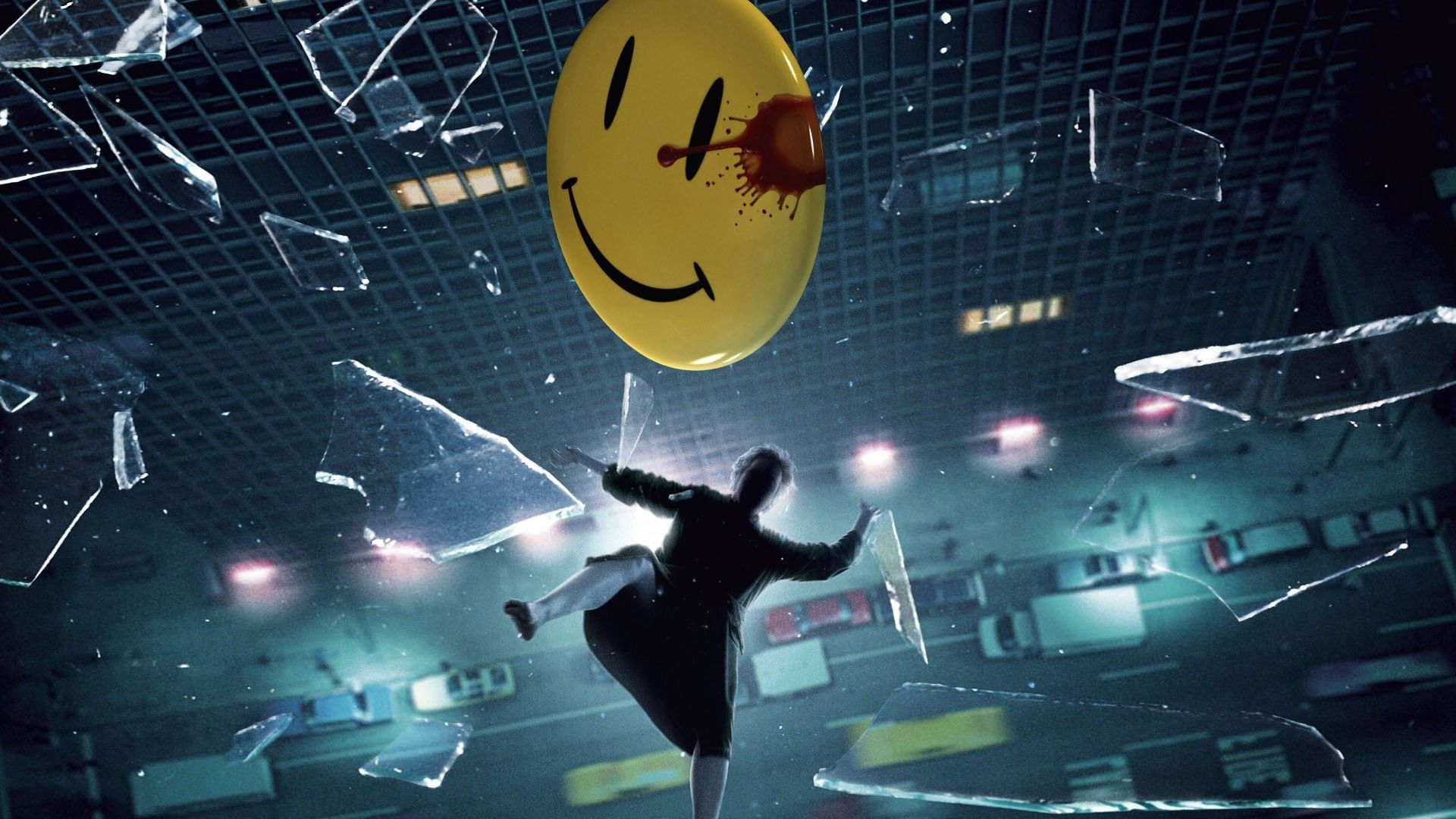 Download Hd Wallpapers Of 54126 Movies Watchmen Jeffrey Dean Morgan Edward Blake The Comedian Falling Broken Glass Smi Watchmen Movie Scenes Movie Shots
