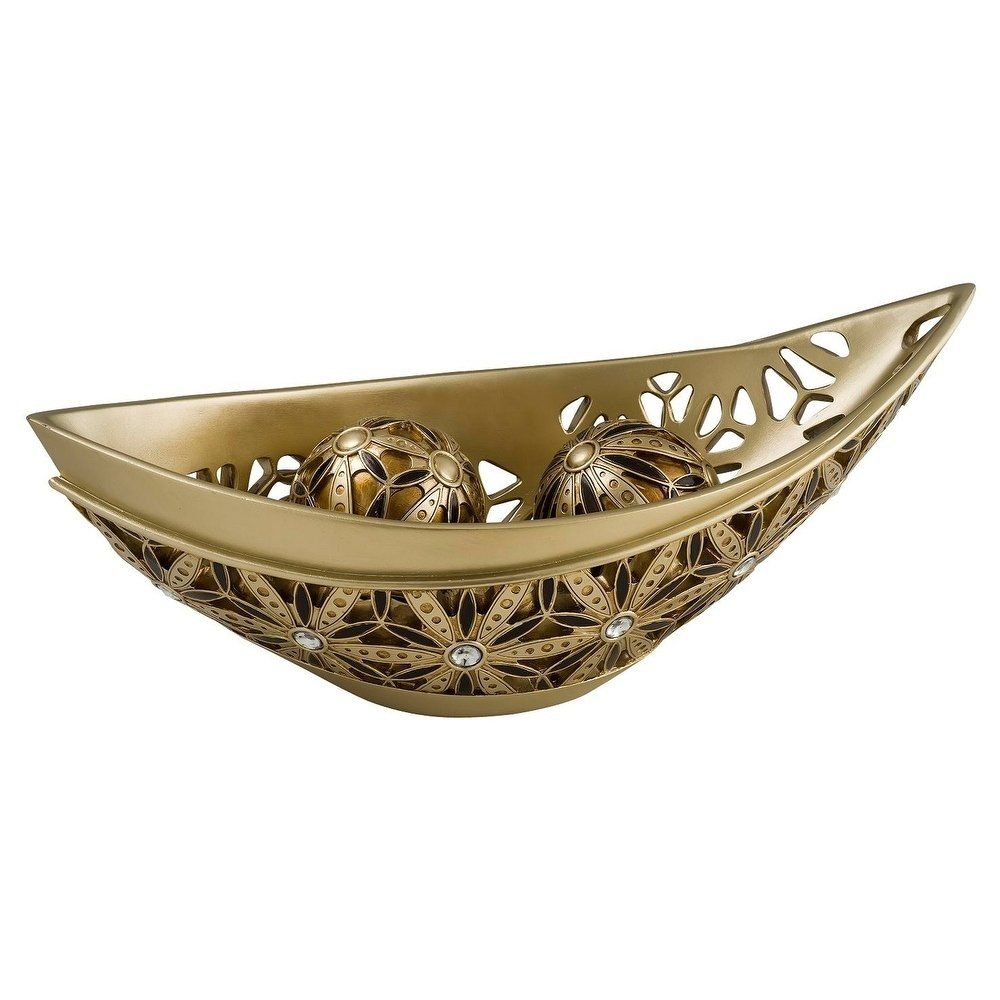 SINTECHNO Bejeweled Sunflower Decorative Bowl with Spheres, Gold(Plastic) #herbstdekoeingangsbereich