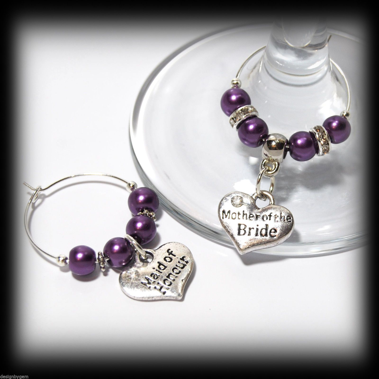 Beautiful Lilac Purple wedding wine glass charms for top table or ...