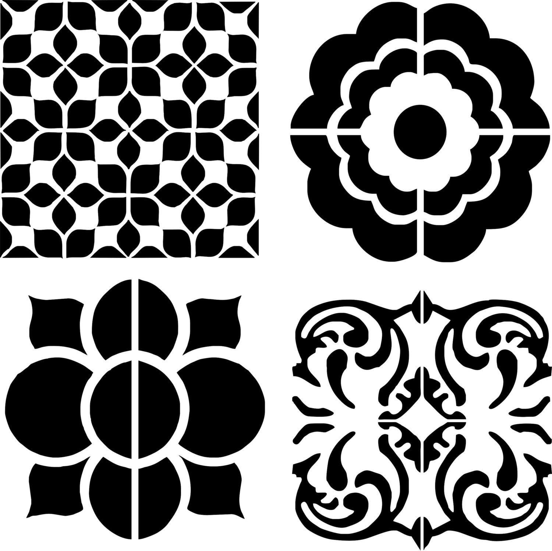 stencil stenciled cement tiles for kitchen trendy. Black Bedroom Furniture Sets. Home Design Ideas