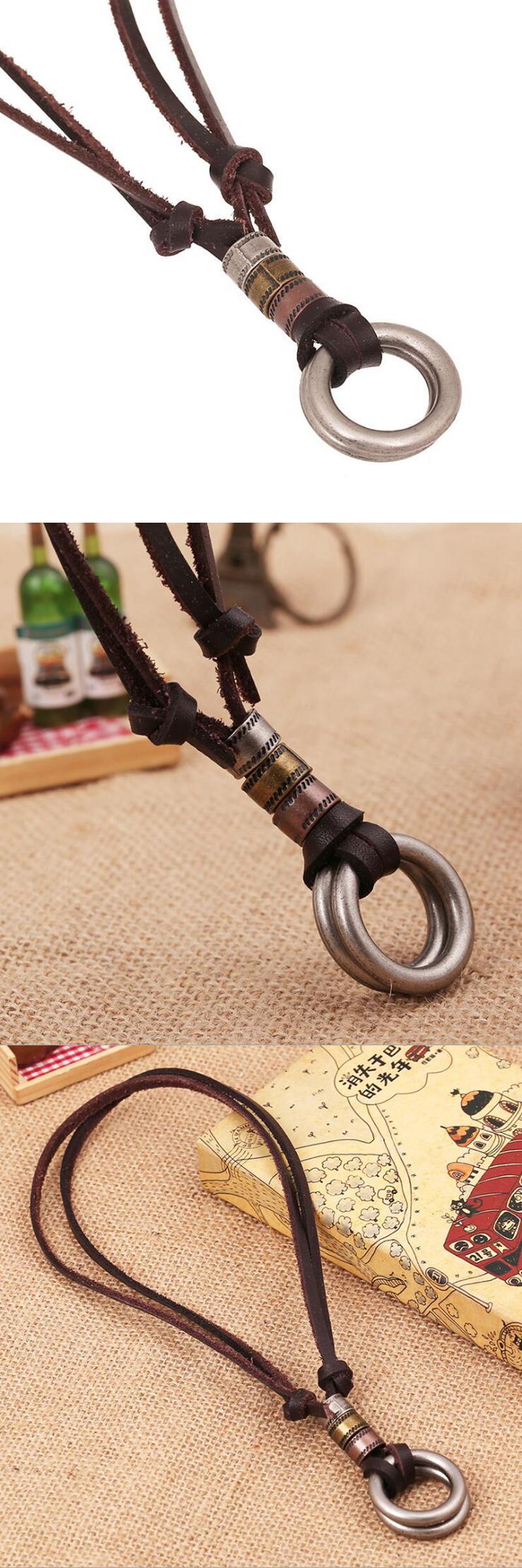 Visit to buy aojun vintage punk mens cowhide rope necklace leather