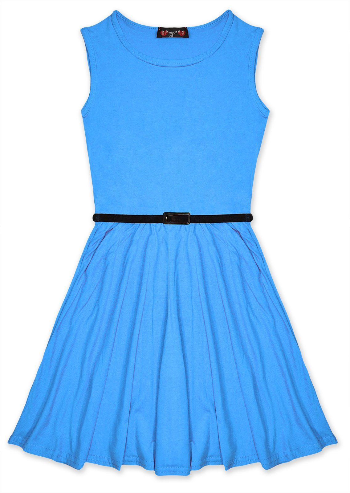 Girls Skater Dress Kids Party Dresses Belted New Age 7 8 9