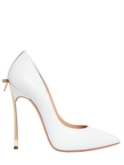 CASADEI 120Mm Blade Bow Leather Pumps, White/Gold. #casadei #shoes #