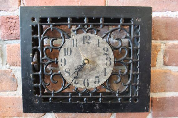recycled antique floor register clock on etsy