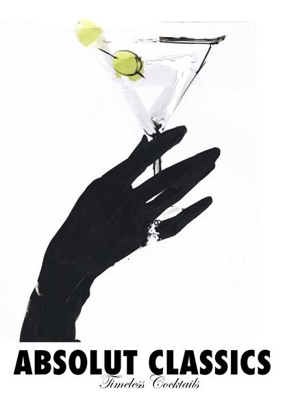 An elegant hand posture, a shiny diamond and one good-looking cocktail. What's not to love in this illustration by D. Downton?