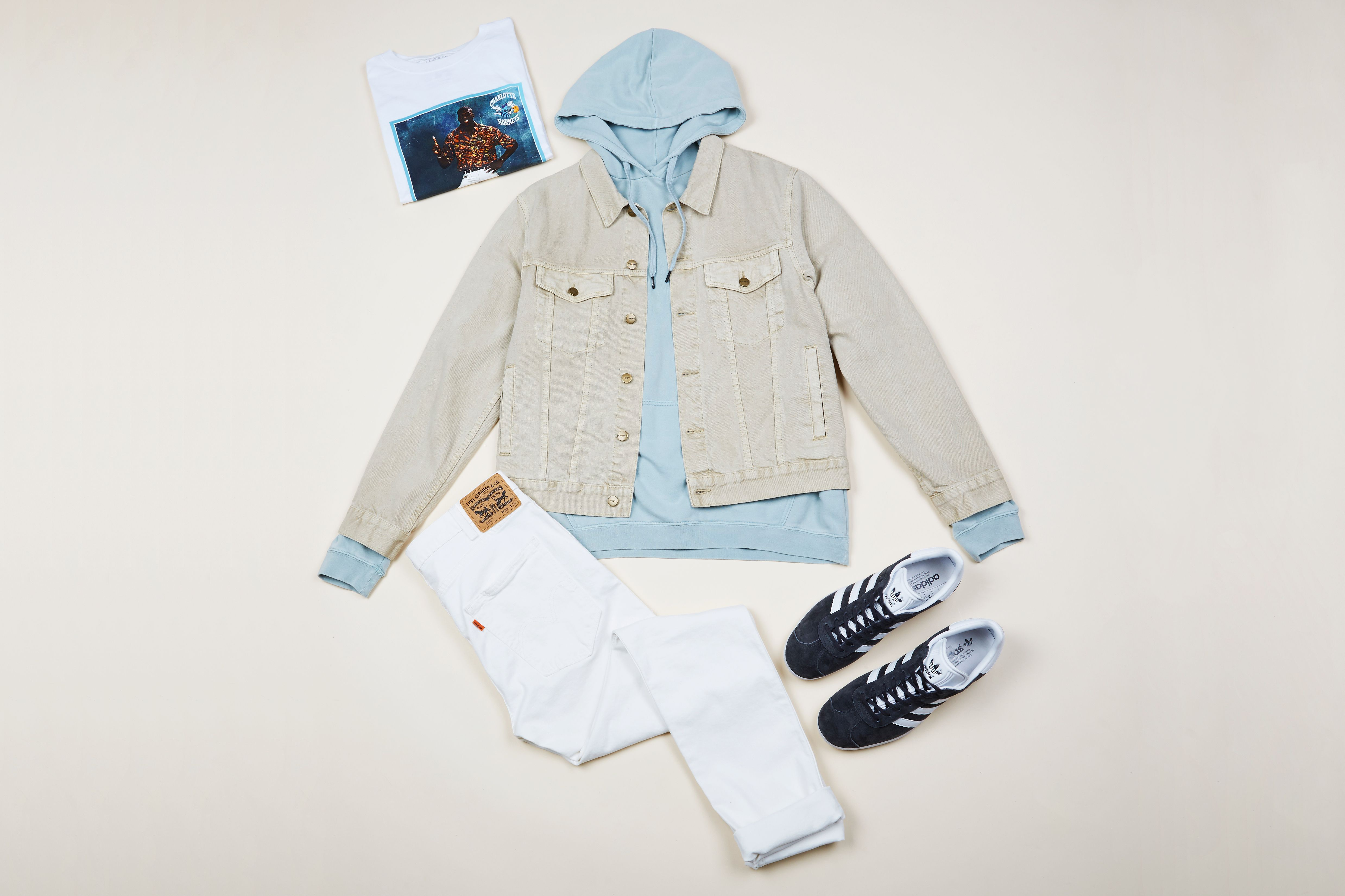 Roadkill Jacket Vintage Tan $109.95 | #generalpants #mensflatlay #adidasgazelles #majesticathletic #levisanz #levis #stussy #denimjacket #streetwear
