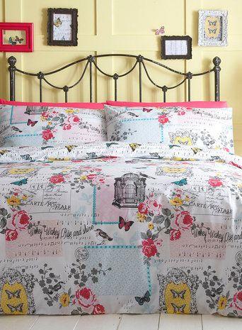 Songbird Bed Set, new look vintage bedding set, pretty delicate birds bed linen print, BHS