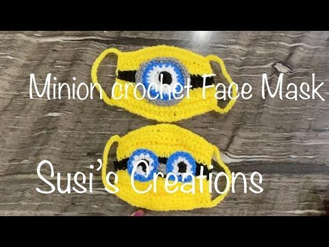 Minion Face Mask/Minion Cubre Boca a crochet