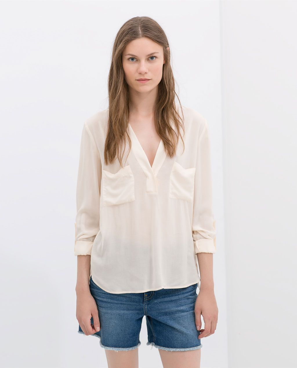 999d01f1c0 Image 1 of EMBELLISHED BLOUSE WITH V BACK from Zara | fashion ...