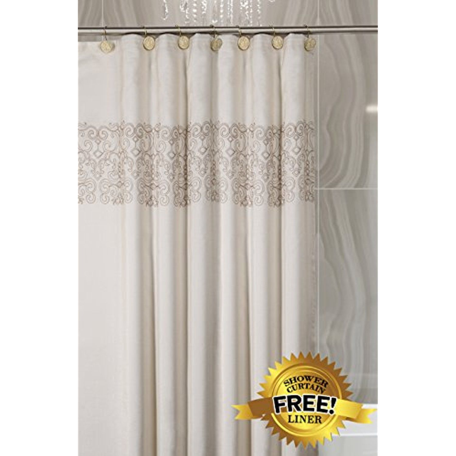Creative scents shannon fabric decorative shower curtain soft touch