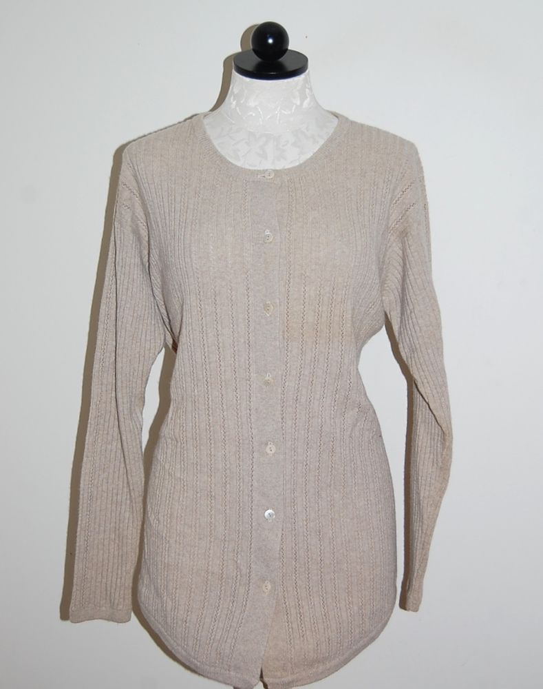 Nicole Summers 100% Cashmere Beige Long Ribbed Cardigan Sweater XL ...