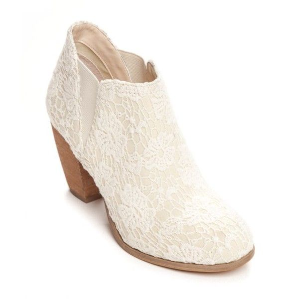 Not Rated Cream Hamilton Lace Bootie - Women's ($69) ❤ liked on Polyvore featuring shoes, boots, ankle booties, cream, short boots, not rated boots, elastic ankle boots, bootie boots and stacked heel booties