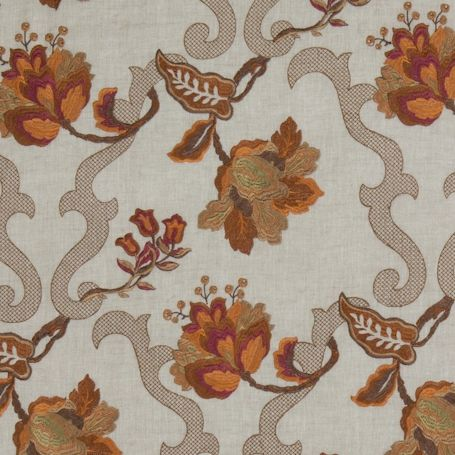 Romilly Fabric An elegant trellis design intertwined with floral branches, embroidered in shades of amber on a natural linen ground.