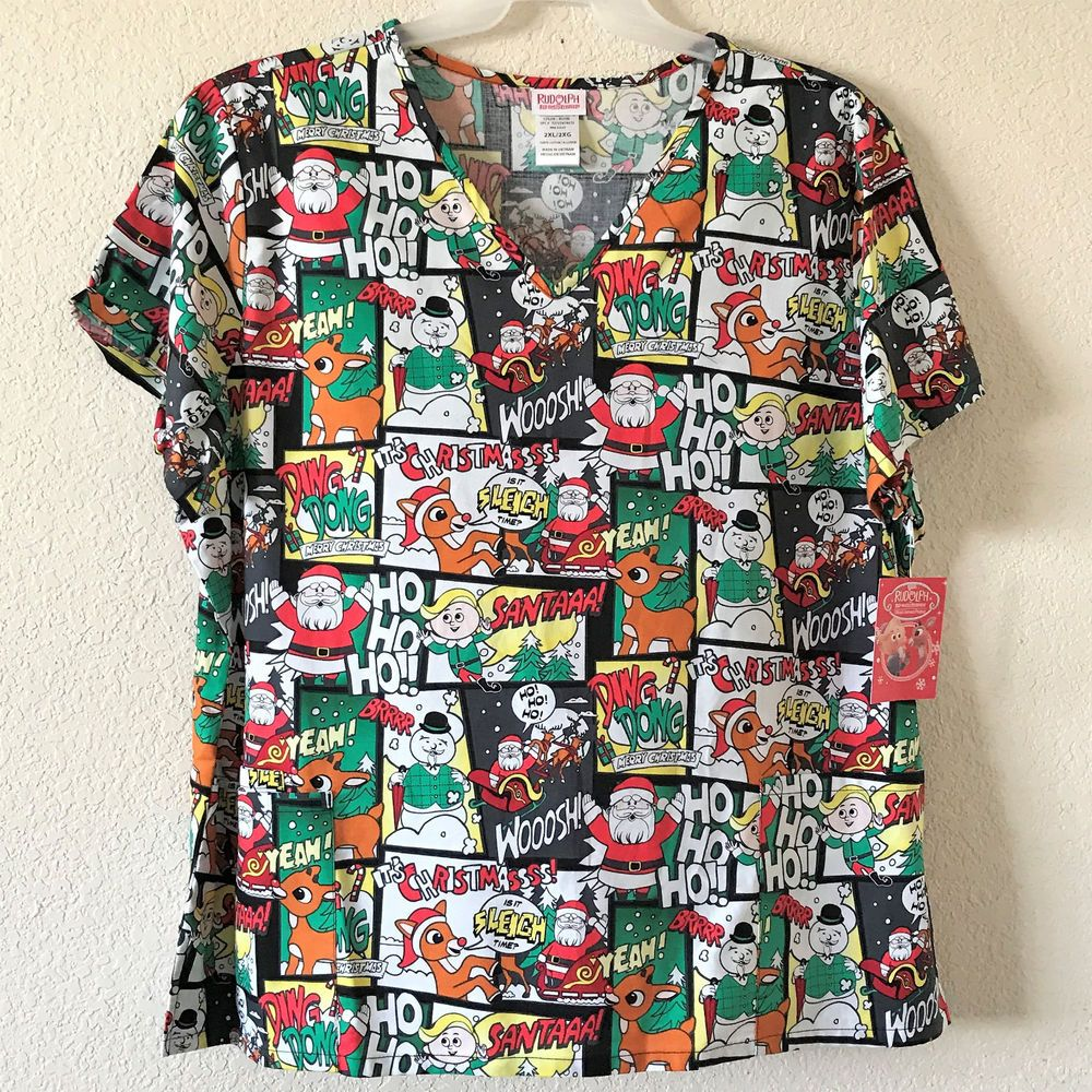 eabd16c38b0 Rudolph the Red Nosed Reindeer Christmas Santa Elves Womens Scrub 2X  #TheRudolphCo