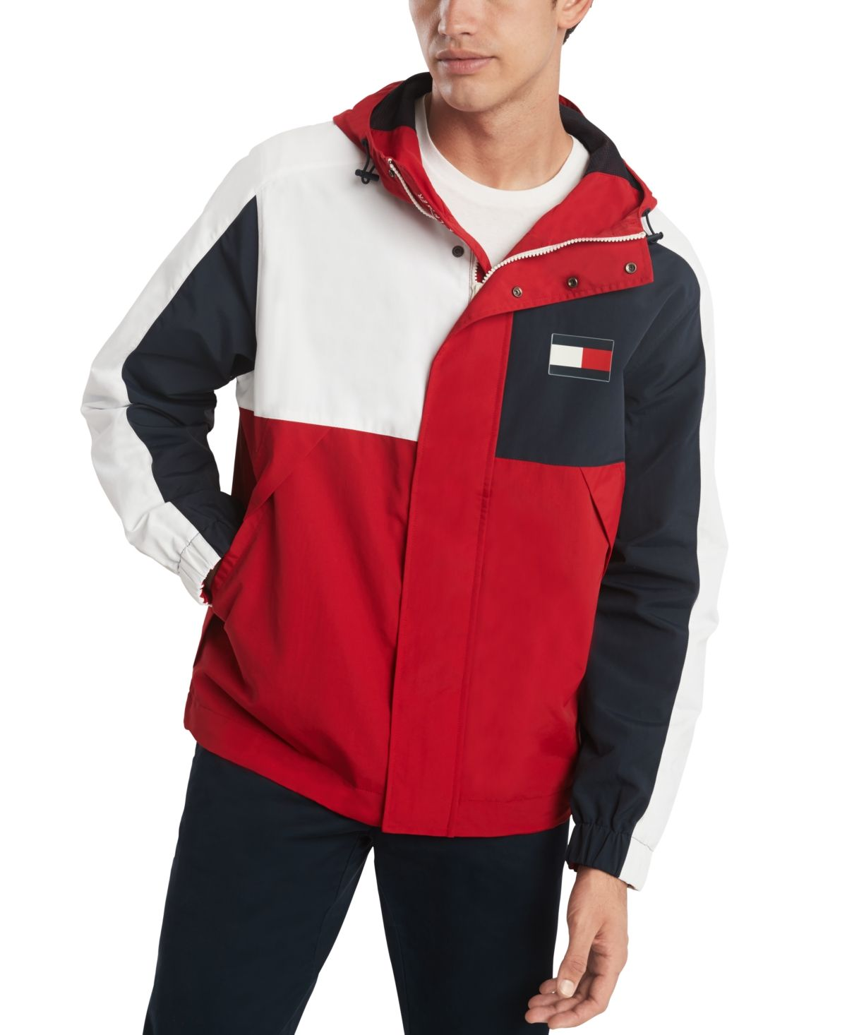 Tommy Hilfiger Men S Dover Colorblocked Water Resistant Hooded Yacht Jacket Apple Red Tommy Hilfiger Man Tommy Hilfiger Jacket Tops [ 1466 x 1200 Pixel ]