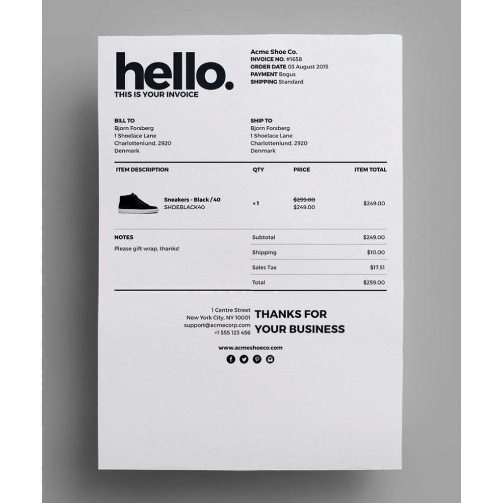 Module Accounting Invoicing Invoice Delivery Template - Template for an invoice