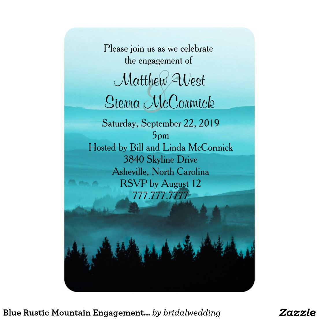 Blue Rustic Mountain Engagement Party Invitation   Wedding ...