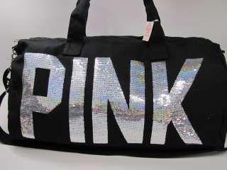 b7ffc35c4 NWT VICTORIA SECRET LOVE PINK BLING SEQUINS DUFFLE BAG BLACK LIMITED ...