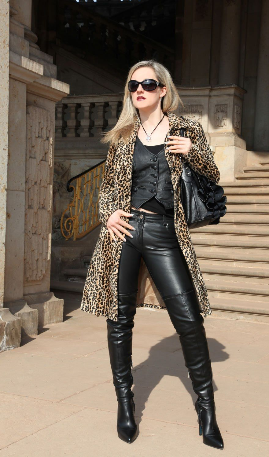 All in leather street milf