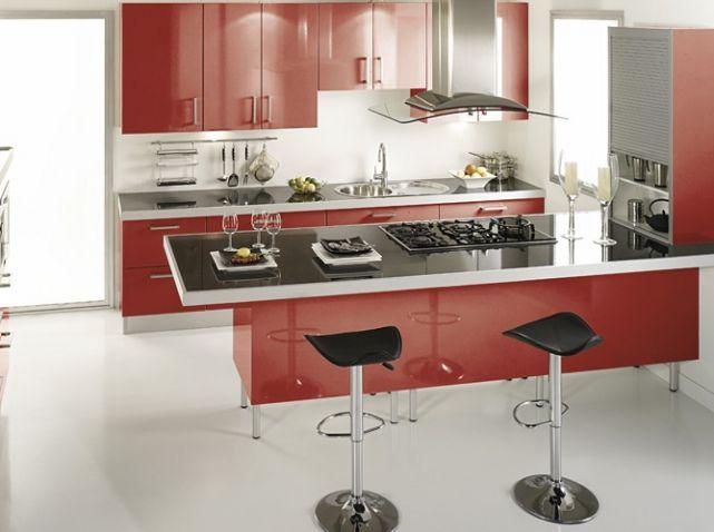 Beautiful Cuisine Rouge Avec Bar Gallery  Design Trends