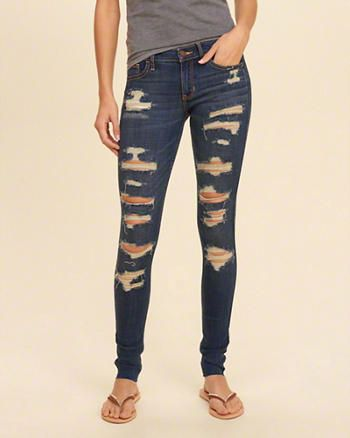 Hollister Shredded Low-Rise Super Skinny Jeans | I want ...
