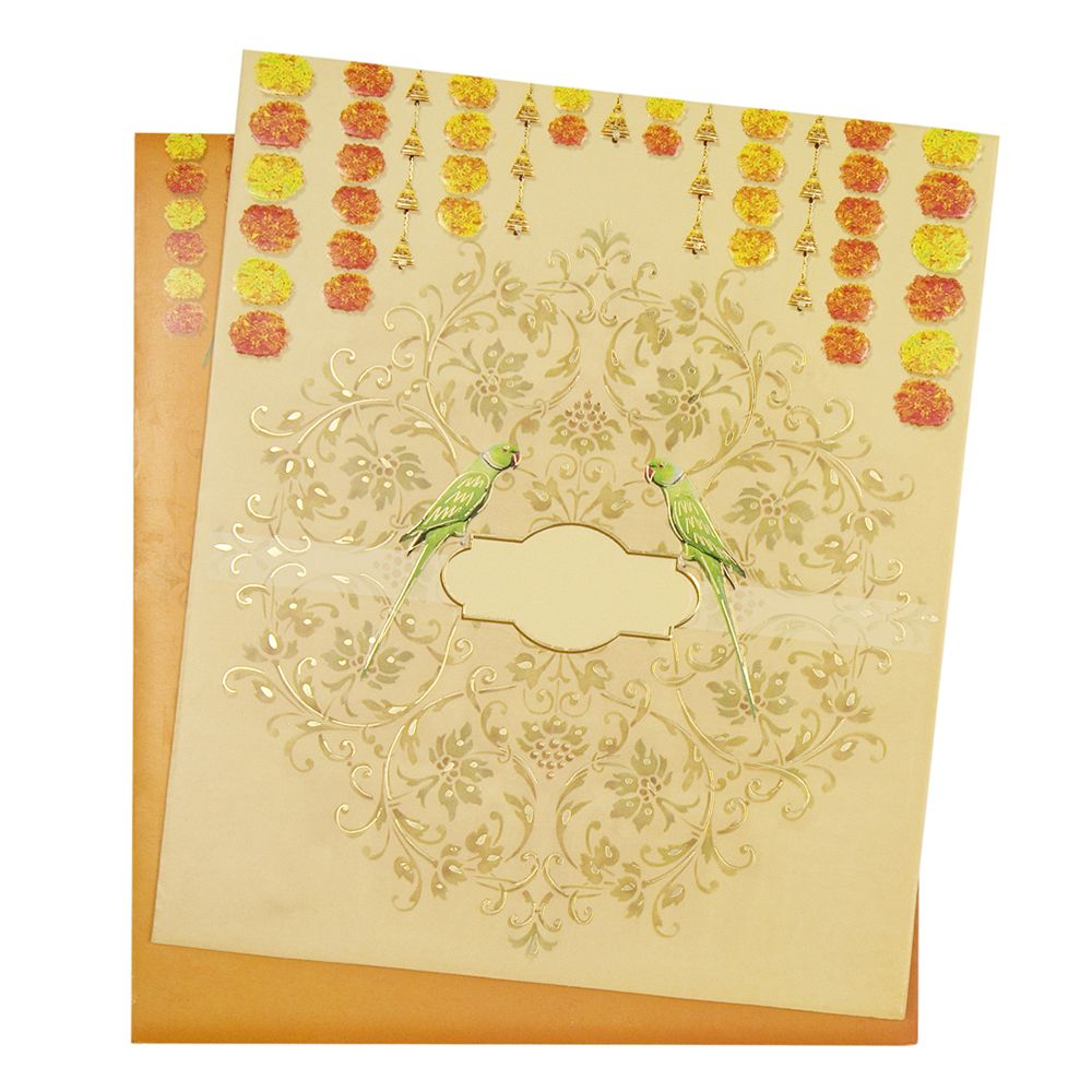 Indian Wedding Invitation With Marigold Flowers And Parrots Wedding Card Diy Wedding Cards Indian Wedding Invitation Cards