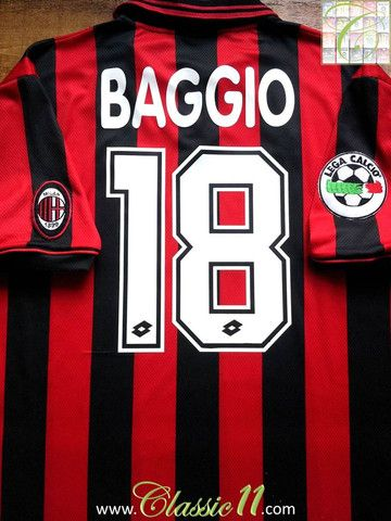 4a542aa23b4 Relive Roberto Baggio's 1996/1997 Serie A season with this vintage Lotto AC  Milan home football shirt.