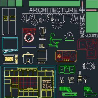 """Kitchen furniture blocks and layouts Autocad """"DWG"""" file"""