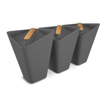 Blackblum Forminimal Kitchen Storage Jars Grey Set Of 3 In