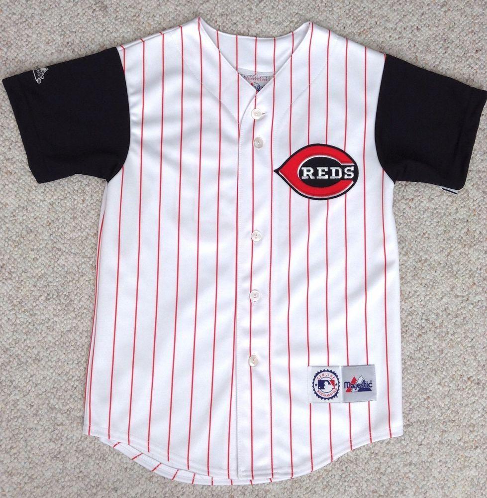 youth(med) ken griffey jr 30 cincinnati reds pinstripe jersey white black