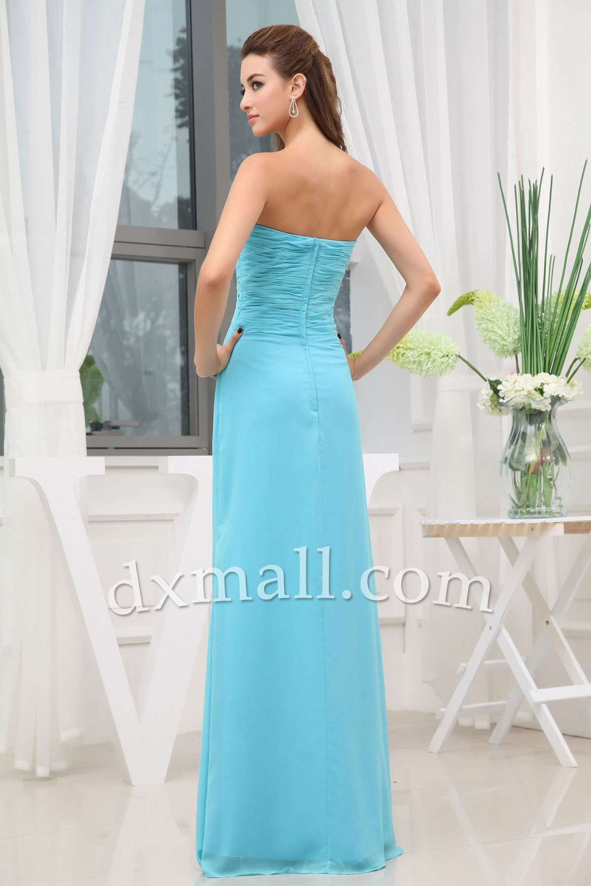 Empire Wedding Guest Dresses Sweetheart Floor Length Chiffon Sky ...