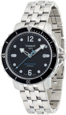 a5b5bd035e8 Tissot Mens T0664071105700 SeaStar Black Automatic Dial Watch ...