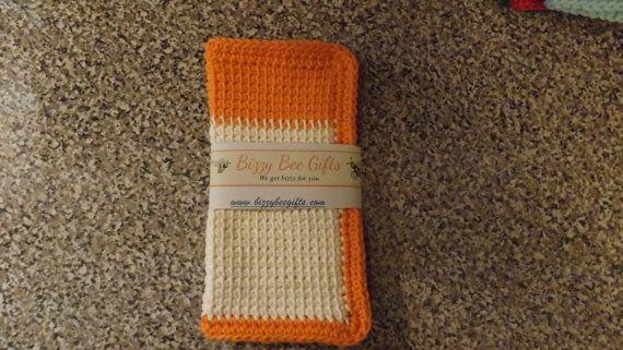 Tunisian Crochet Cotton Dishcloth Set by BizzyBeeGifts on Etsy