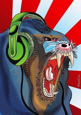 Ilustración que fue portada de Al abordaje magazine #4 sobre la banda cordobesa de stoner rock Mandril.
