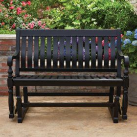 Member S Mark Painted Wood Glider Bench Black In 2020 400 x 300