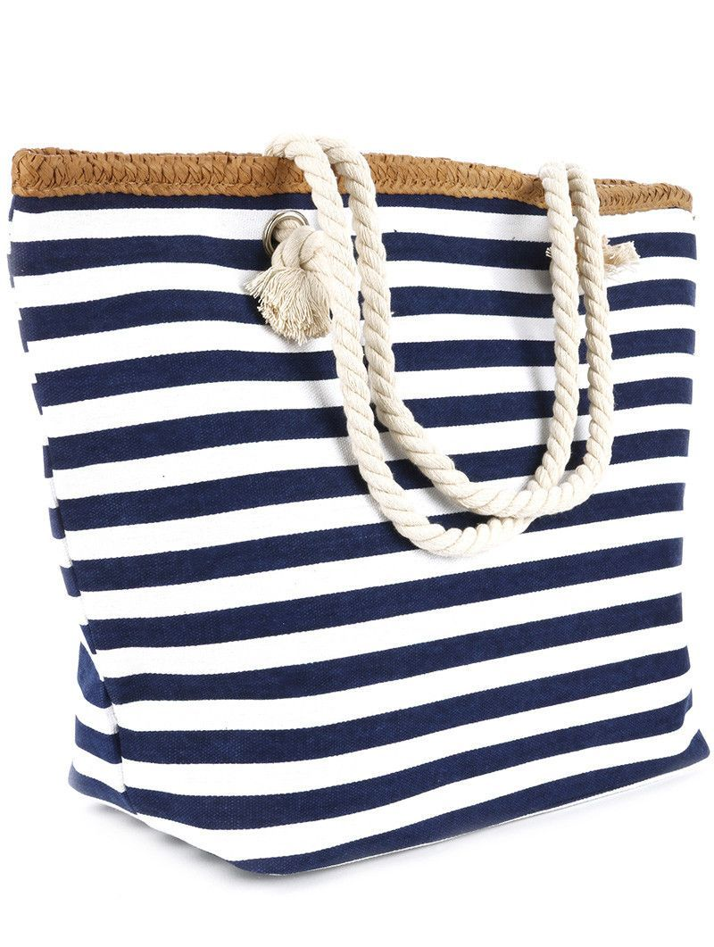 a9974af6d052 Navy Blue or Red Stripe Print Beach Tote Accessory Bag
