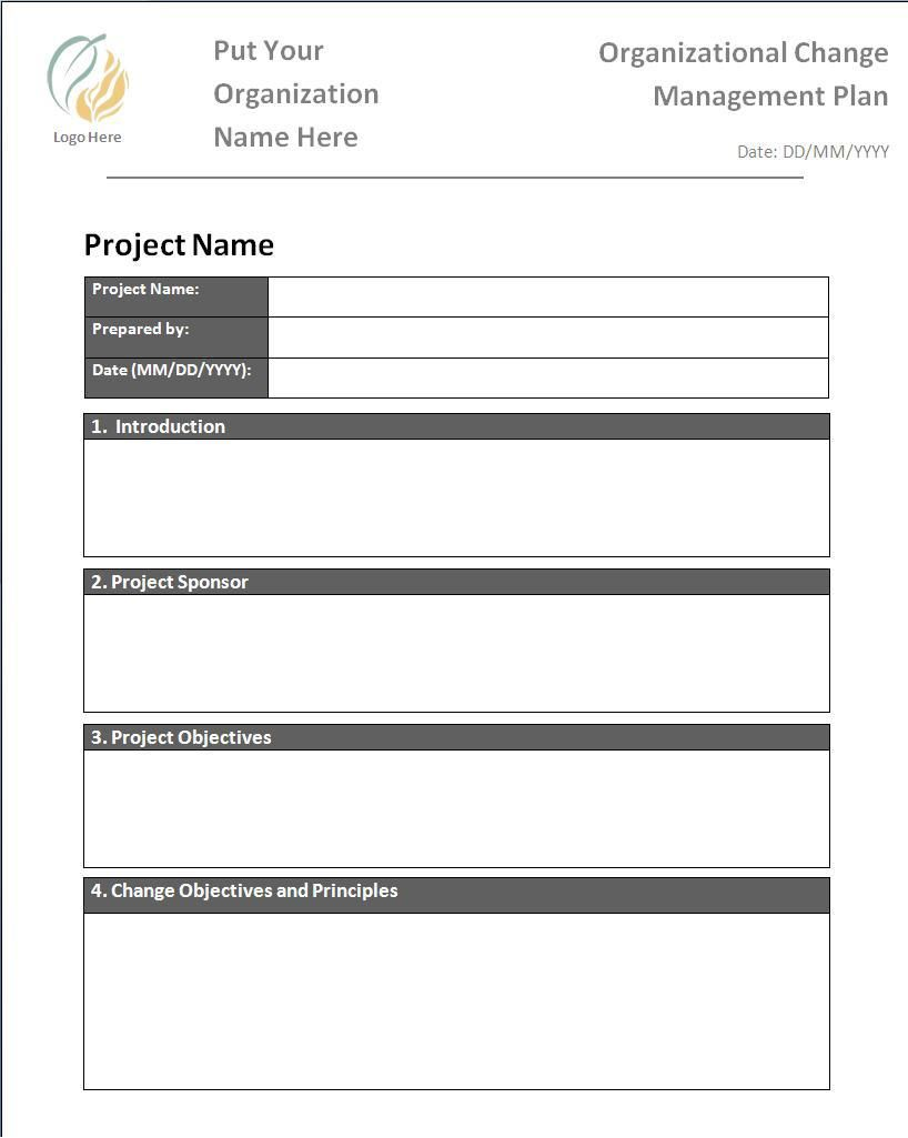 Change Management Plan Template  Wordstemplates