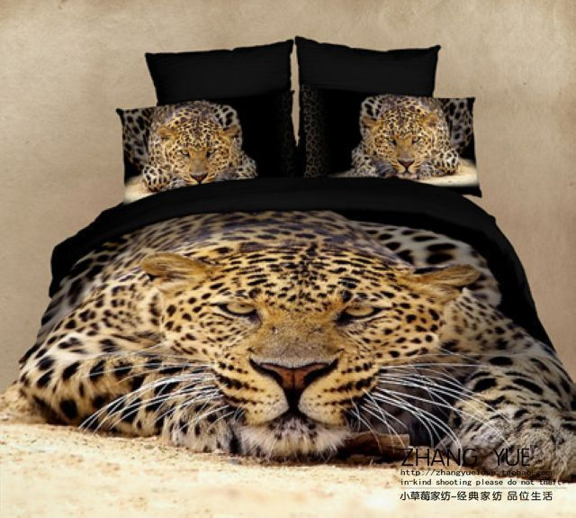Animal print Leopard/Tiger/Horse 3d bedding set queen size 4pcs ... : leopard quilt cover set - Adamdwight.com