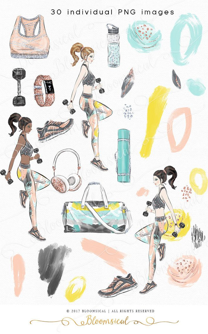 Read the full title Fitness Girl Clip art Hand drawn Fitness Sports Work Out Dance Artwork Illustration | Planner Stickers Digital Graphic Resources Cliparts