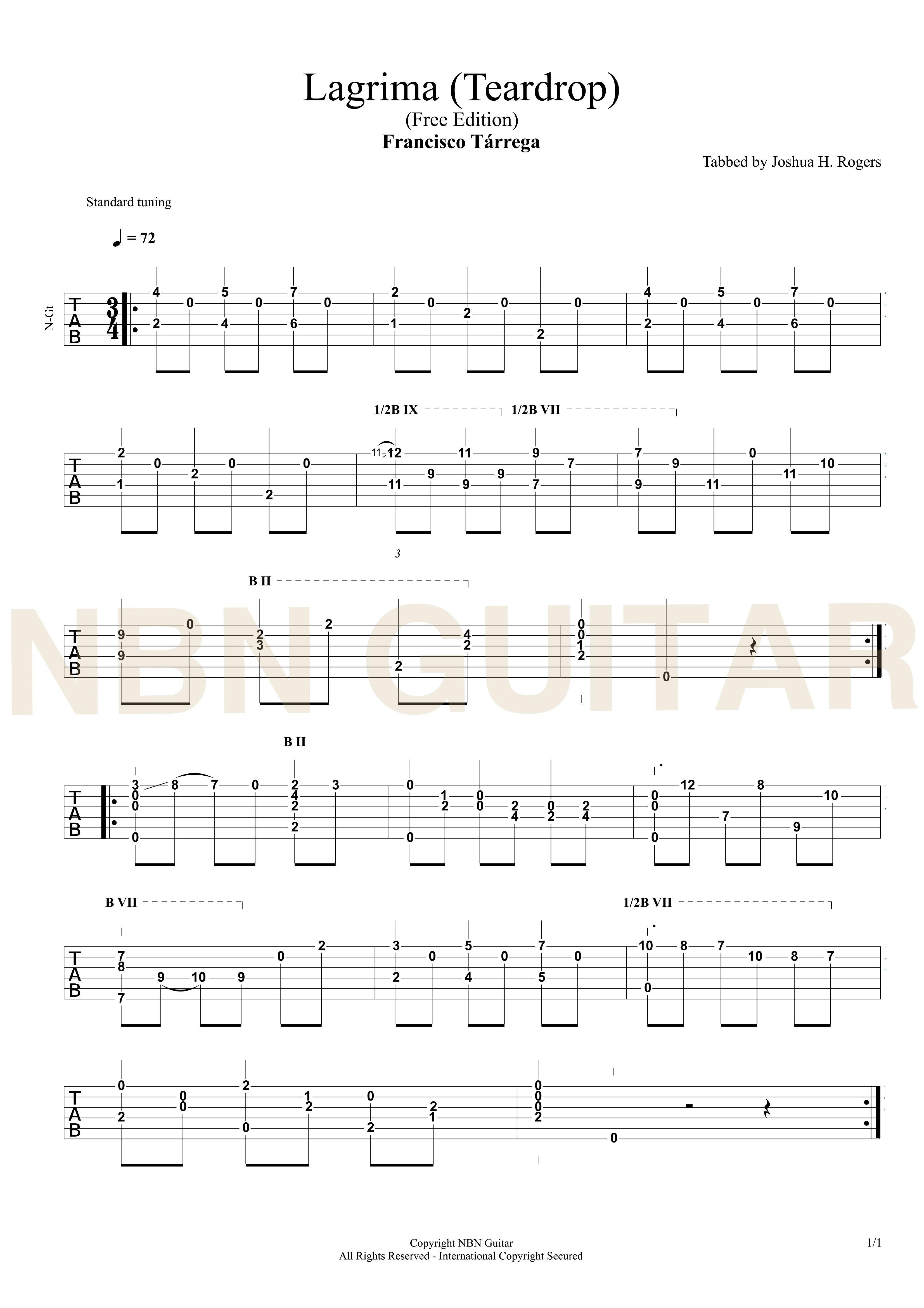 Lagrima Free Classical Guitar Tabs Guitar Instructional