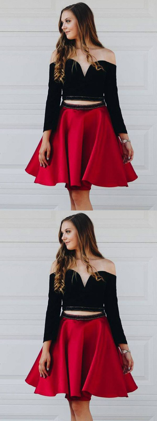 Two piece homecoming dress black and red cheap homecoming dress