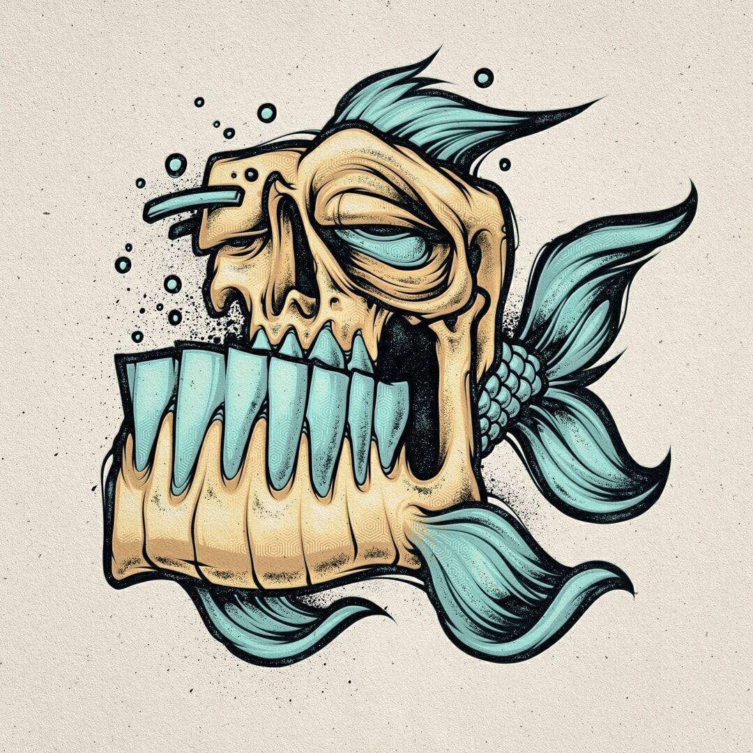 Fish skull Top inspiration, illustration design, graphic deesigner, sketching, d...#deesigner #design #fish #graphic #illustration #inspiration #sketching #skull #top
