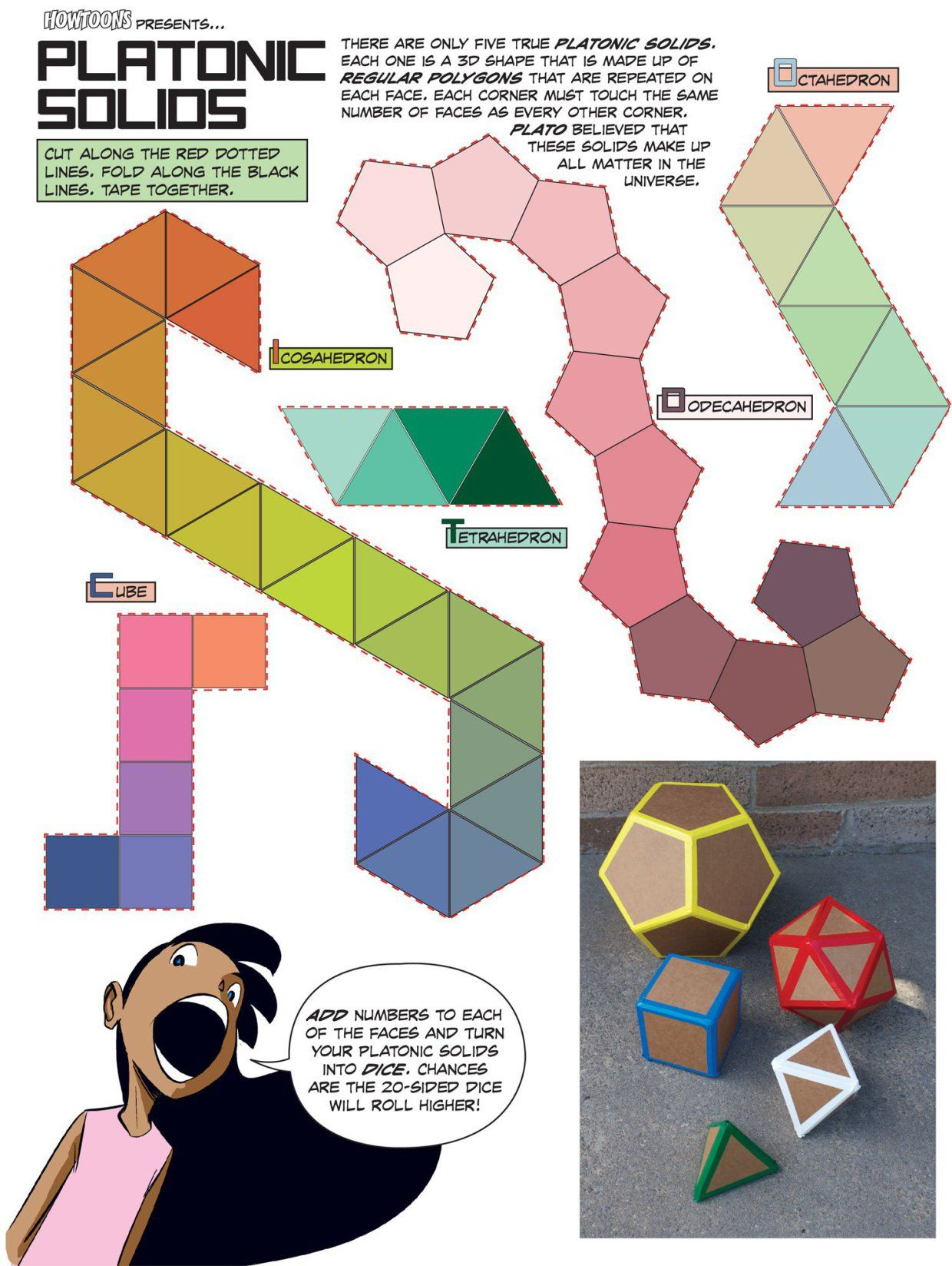 Howtoons Cut And Fold Platonic Mathematical Shapes Childs Play