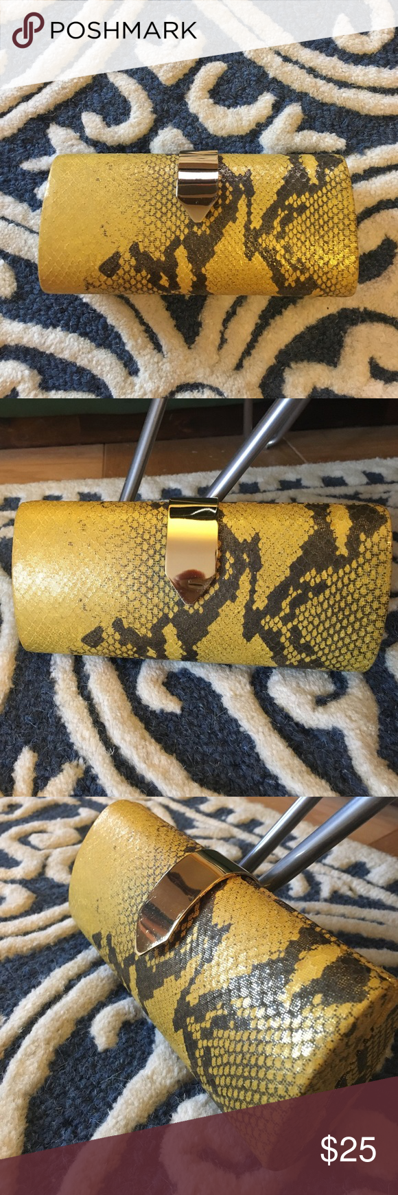 Banana Republic Snake Clutch Sassy and sexy. Bright yellow snake printed leather clutch. Beautiful yellow with shades of gold and gunmetal. Sleek gold closure. Banana Republic Bags Clutches & Wristlets