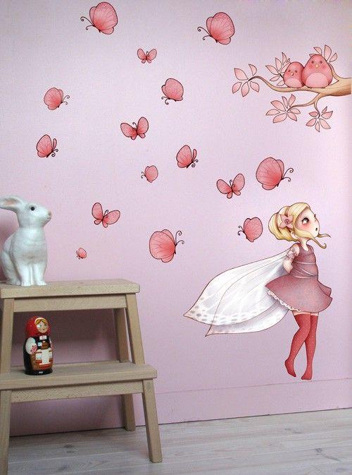 Sticker Repositionnable Fee Et Papillon Decoration Chambre Enfant Stickers Muraux Idee Decoration Chambre