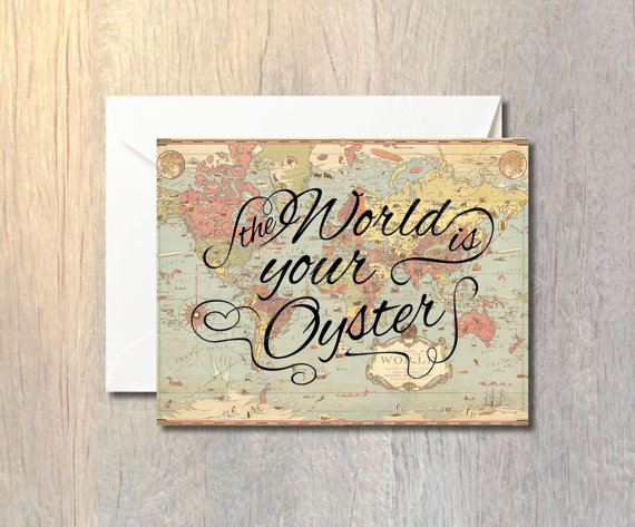 The world is your oyster card with envelope vintage map message the world is your oyster card with envelope vintage map message greeting cardstock paper card gumiabroncs Gallery