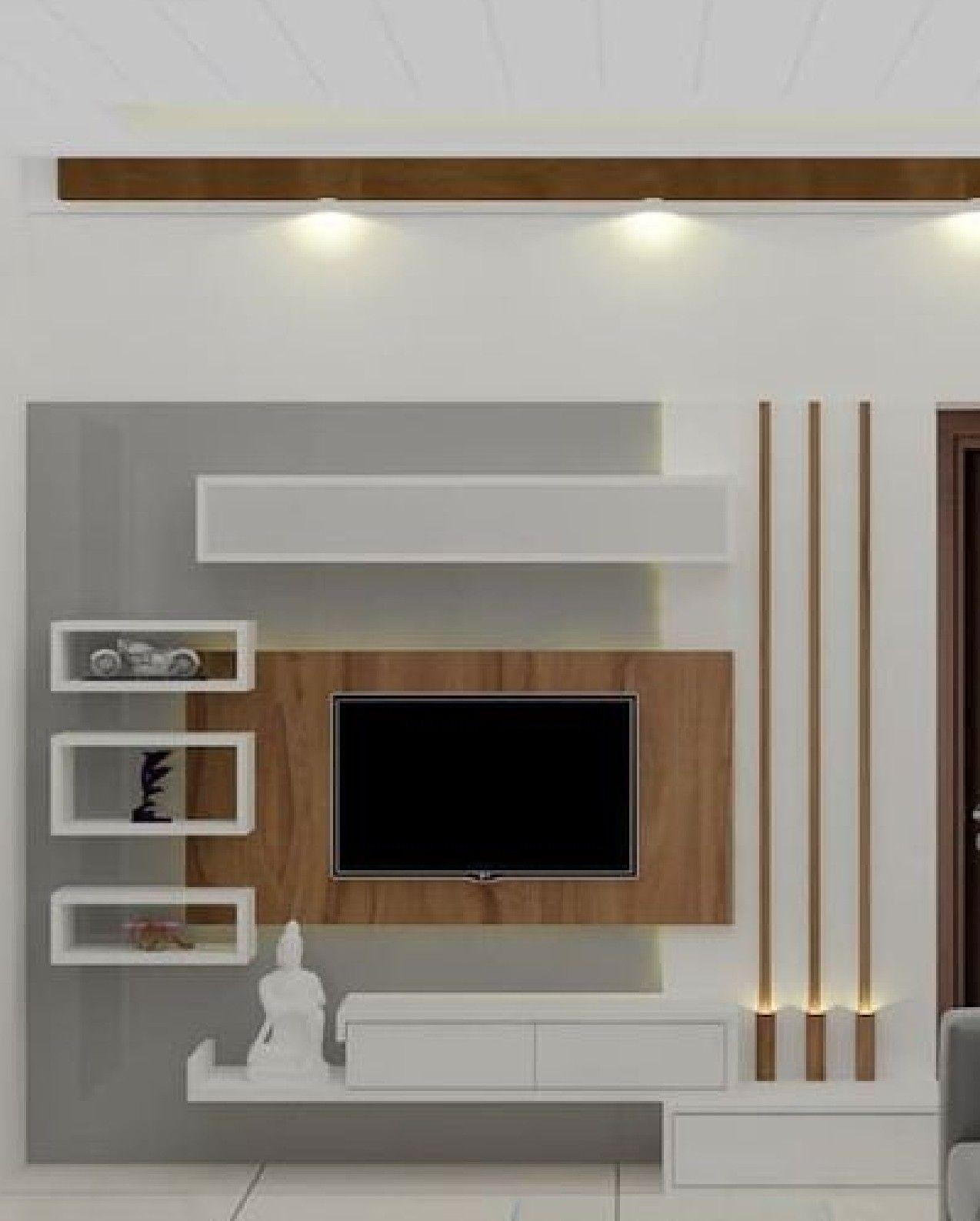 Modern led unit design in 6  Living room tv unit designs, Wall