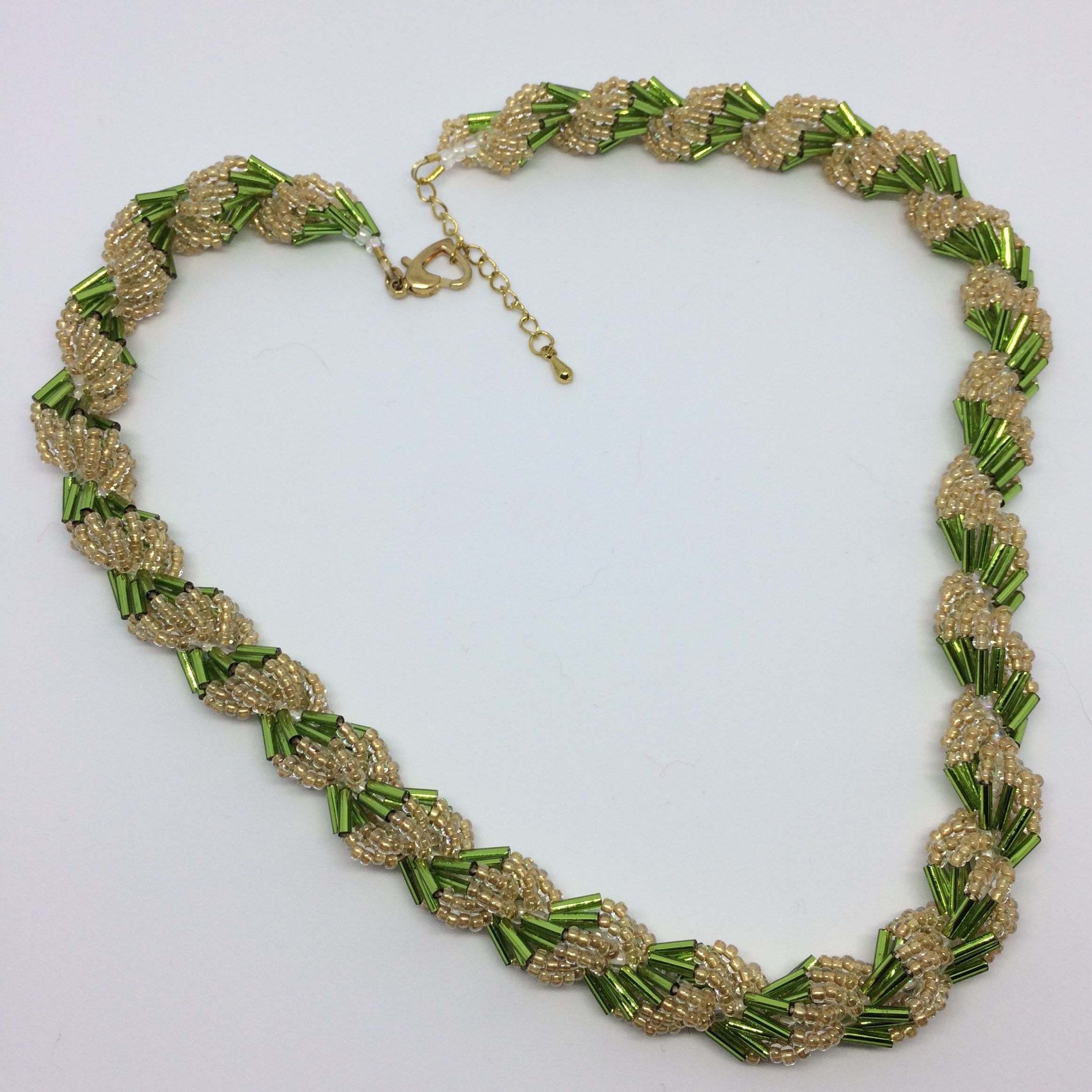 Olive Green Bugles Entwine With Matte Gold Seed Beads In
